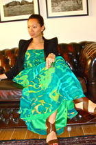 green BCBG dress - brown dvf shoes - black Balmain knockoff blazer - green from