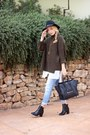 Black-h-m-boots-sky-blue-levis-jeans-black-h-m-hat-army-green-asos-sweater