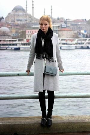 black Marypaz boots - silver Stradivarius coat - black H&M scarf