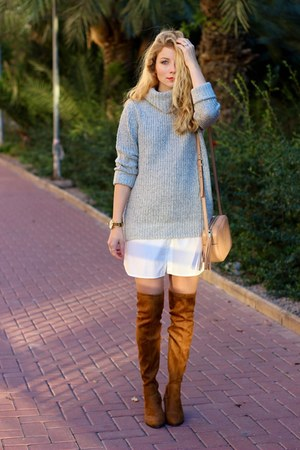 brown bilyfer watch - brown Forever 21 boots - white Sheinside dress