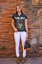 charcoal gray Primark t-shirt - brown Louis Vuitton purse - white Zara pants