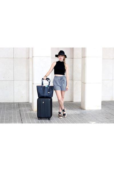 black H&M hat - navy Robert Pietri purse - charcoal gray Mango shorts