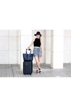 black H&M hat - navy Robert Pietri purse - charcoal gray Mango shorts