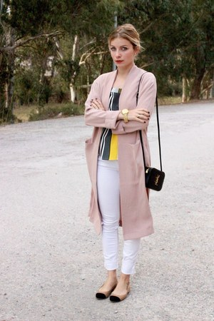 light pink Forever 21 jacket - black YSL purse - yellow new look top
