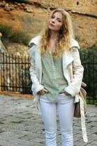 white Zara pants - light brown Aldo boots - beige Sheinside coat