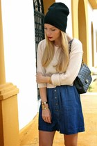black Suzy Shier boots - navy Forever 21 dress - black Forever 21 hat