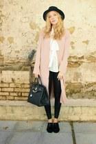 light pink Forever 21 jacket - black Esarsi shoes - black H&M hat