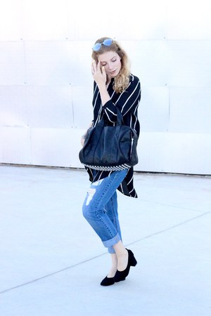 black VJ Style purse - blue Forever 21 jeans - black Forever 21 blouse