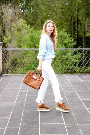 brown zaful shoes - white Zara jeans - brown Michael Kors bag