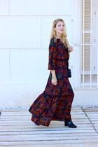 black H&M boots - crimson H&M dress - black YSL purse