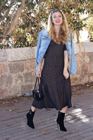 black Esarsi boots - charcoal gray Zara dress - sky blue Guess jacket