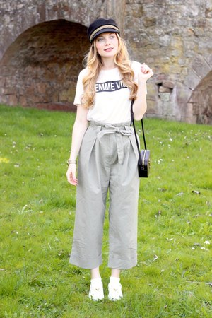 black mudu hat - black YSL purse - white H&M t-shirt - tan H&M pants