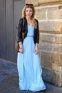 Light-brown-forever-21-boots-sky-blue-zara-dress-black-dynamite-jacket