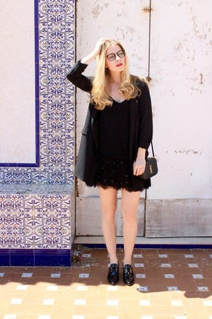 black Esarsi shoes - black Zara dress - black Stradivarius blazer