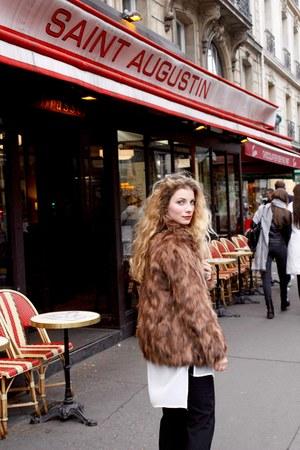 white Yoins blouse - brown 123 coat - black YSL purse - black Zara pants