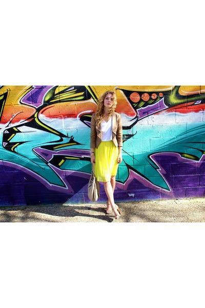 yellow Mango skirt - light brown Dynamite blazer