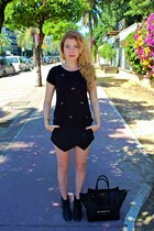 black Aldo boots - black Celine purse - black Zara shorts