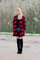 black Pilar Burgos boots - black Mango dress - ruby red Sheinside coat