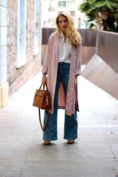 tan Jeffrey Campbell boots - blue H&M jeans - light pink Forever 21 jacket