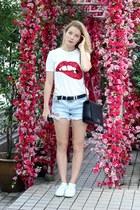 black Chanel purse - sky blue H&M shorts - white Sheinside t-shirt