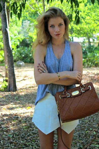 brown Michael Kors purse - ivory Zara shorts - heather gray Sirens top