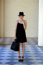 black Sheinside dress - black H&M hat - black Celine purse - black Mango wedges