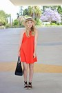 Orange-zara-dress-tan-ale-hop-hat-black-celine-purse-black-asos-sandals