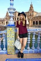 black Missguided boots - black H&M hat - ivory Michael Kors purse