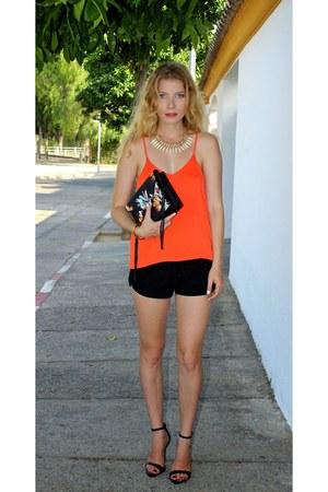 black Forever 21 shorts - green Rebecca Minkoff purse - carrot orange H&M top