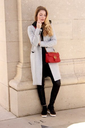 black Sheinside shoes - silver Stradivarius coat - red Gucci purse
