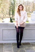 black Stradivarius boots - eggshell Mango sweater - black H&M leggings