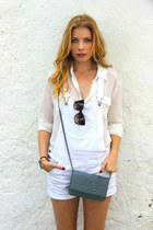 blue Chanel purse - dark brown Dolce & Gabbana sunglasses - ivory Primark blouse