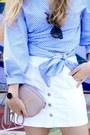 Light-pink-ysl-purse-sky-blue-zara-blouse-white-stradivarius-skirt