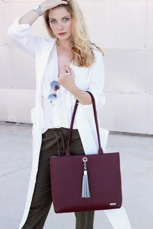 white Sheinside jacket - purple VVA purse - white Chicwish blouse