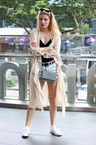 black asos bodysuit - beige Sheinside jacket - heather gray Chanel purse