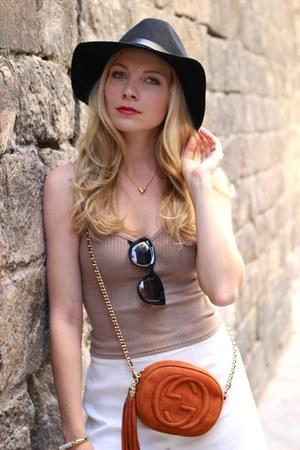 black H&M hat - burnt orange Gucci purse - ivory Mango shorts