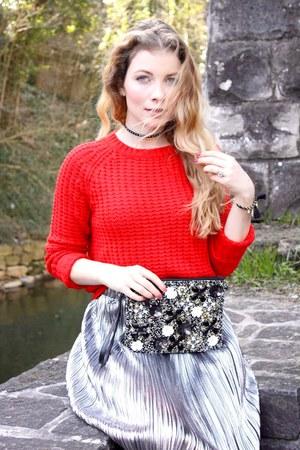red Forever 21 sweater - black veritas bag - silver veritas skirt