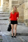 Red-forever-21-sweater-black-vj-style-purse-black-forever-21-shorts