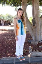 white Zara jeans - light pink YSL bag - sky blue Chloe sandals