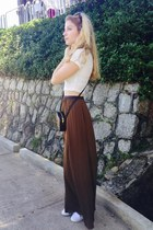 brown Stradivarius skirt - black YSL purse - dark brown Celine sunglasses
