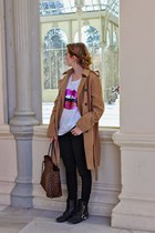 camel Costa Blanca coat - dark brown Louis Vuitton purse - pink Ahai t-shirt