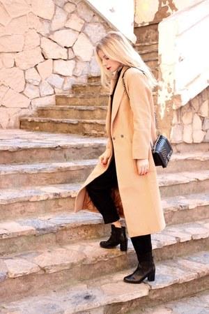 black H&M boots - camel Sheinside coat - black Chanel purse - black asos romper