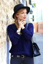 black Aldo boots - gray Mango jeans - black H&M hat - navy Mango sweater
