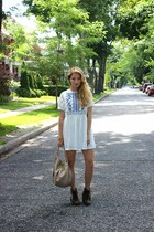 navy Sheinside dress - white Sheinside dress - heather gray Aldo boots