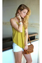 brown Angel Reinares purse - white Zara shorts - mustard Love Culture top