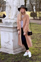 white Sheinside t-shirt - camel Sheinside coat - army green Forever 21 hat