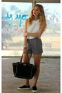 Black-daily-look-purse-charcoal-gray-forever-21-shorts-white-mango-top