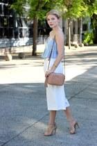 silver Jessa J earrings - tan Gucci purse - white winners pants