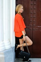 black Chanel purse - carrot orange Zara sweater - black Forever 21 shorts