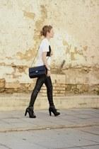 black Chanel purse - black Zara pants - white calvin klein t-shirt